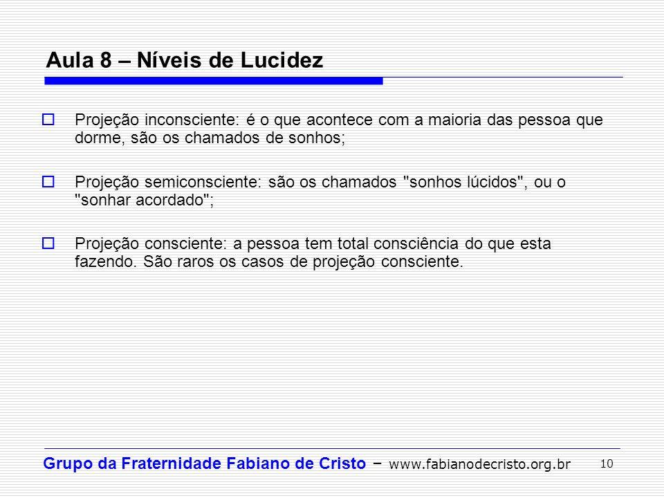 Grupo da Fraternidade Fabiano de Cristo – www.fabianodecristo.org.br 10 Aula 8 – Níveis de Lucidez Projeção inconsciente: é o que acontece com a maior