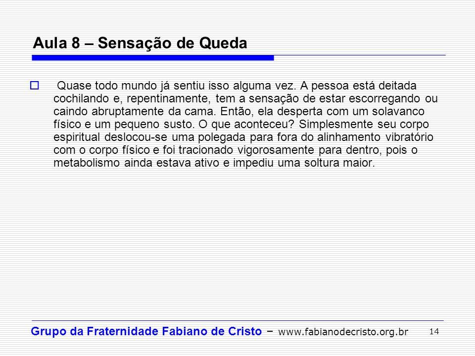 Grupo da Fraternidade Fabiano de Cristo – www.fabianodecristo.org.br 14 Aula 8 – Sensação de Queda Quase todo mundo já sentiu isso alguma vez. A pesso