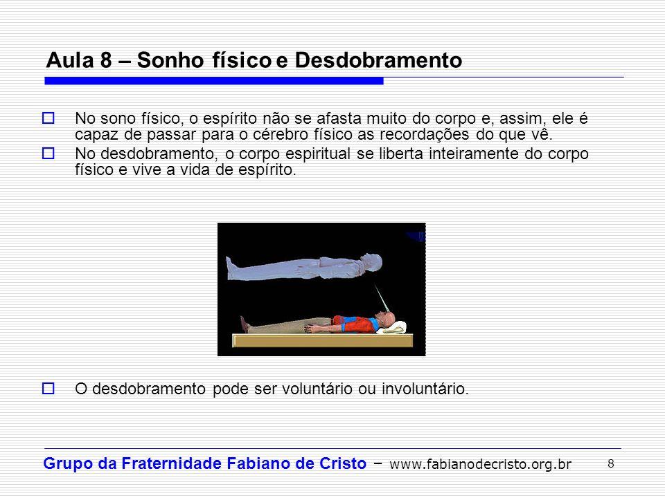 Grupo da Fraternidade Fabiano de Cristo – www.fabianodecristo.org.br 8 Aula 8 – Sonho físico e Desdobramento No sono físico, o espírito não se afasta