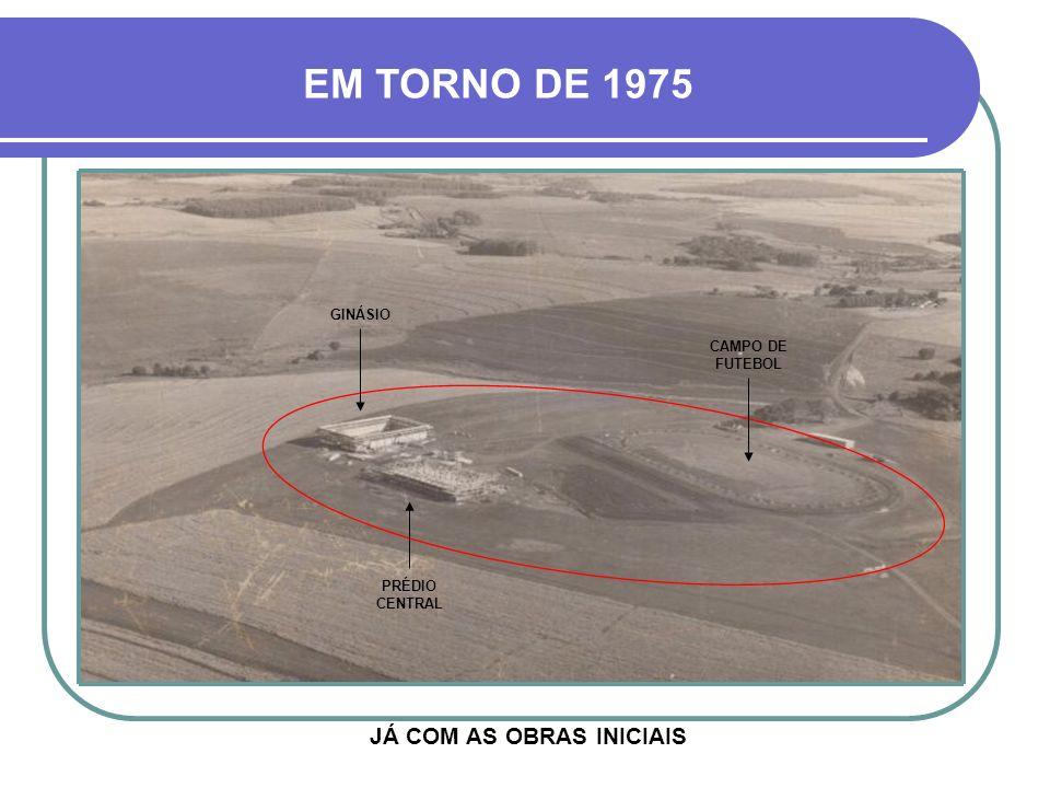 INÍCIO DA DÉCADA DE 1970 EM VERMELHO, A ÁREA DOADA QUE RECEBERIA AS PRIMEIRAS E PRINCIPAIS BENFEITORIAS