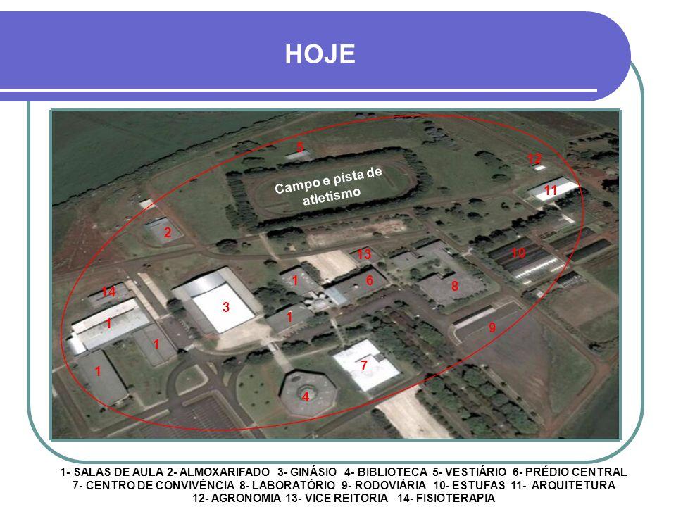 NO INÍCIO, EM 1978, SOMENTE AS FACULDADES DE DIREITO E EDUCAÇÃO FÍSICA FORAM TRANSFERIDAS PARA O CAMPUS UNIVERSITÁRIO Campo de futebol e pista de atle