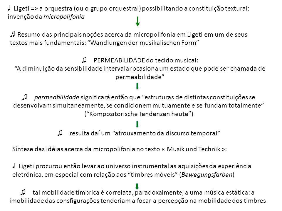 Ligeti => a orquestra (ou o grupo orquestral) possibilitando a constituição textural: invenção da micropolifonia Resumo das principais noções acerca d