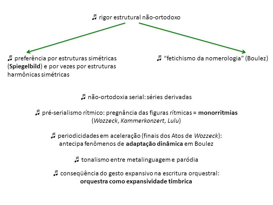 rigor estrutural não-ortodoxo não-ortodoxia serial: séries derivadas pré-serialismo rítmico: pregnância das figuras rítmicas = monorritmias (Wozzeck,