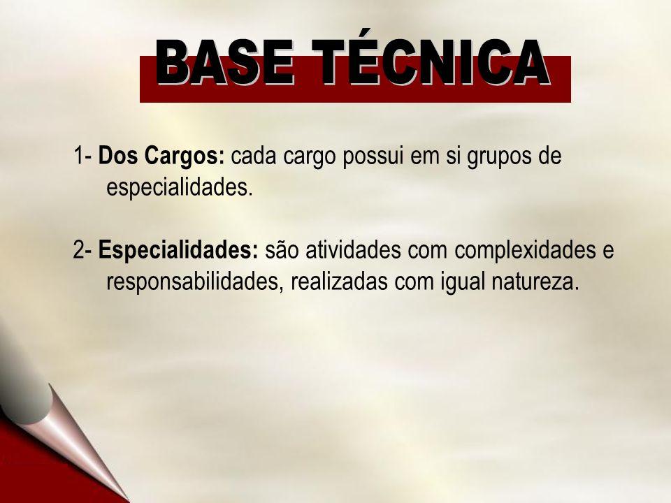 1- Dos Cargos: cada cargo possui em si grupos de especialidades. 2- Especialidades: são atividades com complexidades e responsabilidades, realizadas c