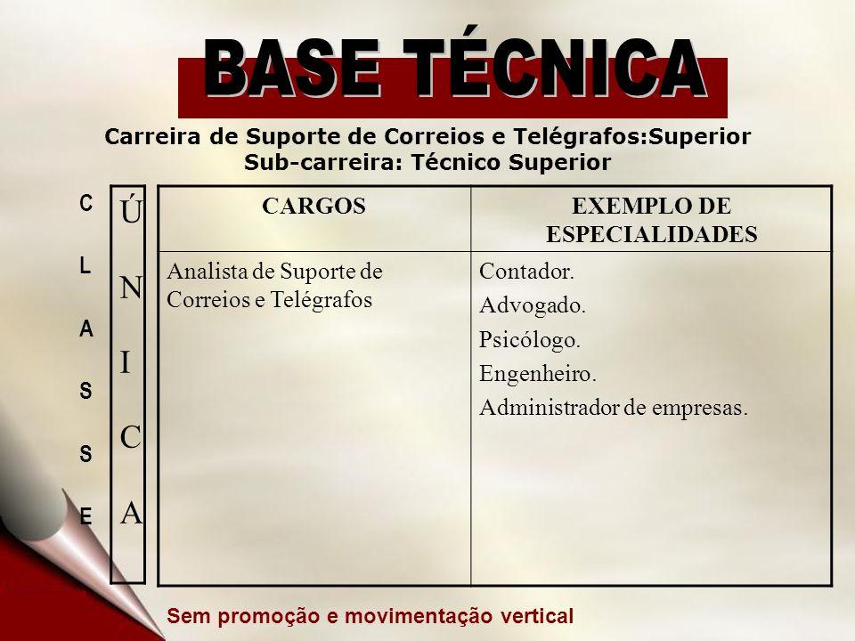 CARGOSEXEMPLO DE ESPECIALIDADES Analista de Suporte de Correios e Telégrafos Contador. Advogado. Psicólogo. Engenheiro. Administrador de empresas. Car