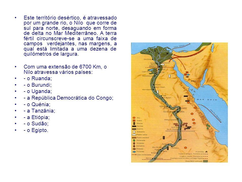 Este território desértico, é atravessado por um grande rio, o Nilo que corre de sul para norte, desaguando em forma de delta no Mar Mediterrâneo. A te