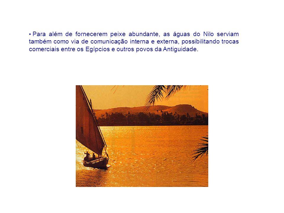 Para além de fornecerem peixe abundante, as águas do Nilo serviam também como via de comunicação interna e externa, possibilitando trocas comerciais entre os Egípcios e outros povos da Antiguidade.