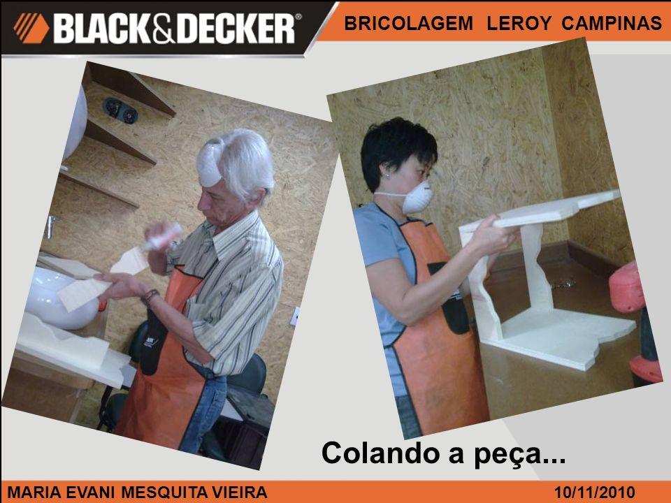 MARIA EVANI MESQUITA VIEIRA BRICOLAGEM LEROY CAMPINAS 10/11/2010 Colando a peça...