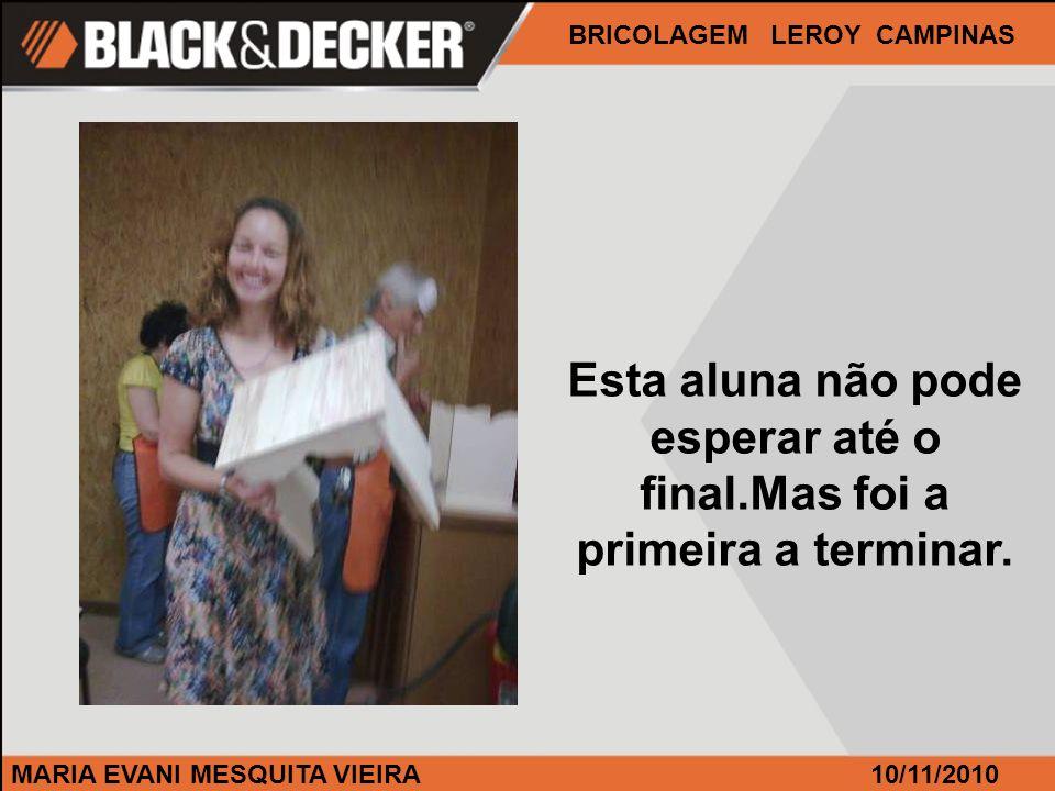 MARIA EVANI MESQUITA VIEIRA BRICOLAGEM LEROY CAMPINAS 10/11/2010 Esta aluna não pode esperar até o final.Mas foi a primeira a terminar.