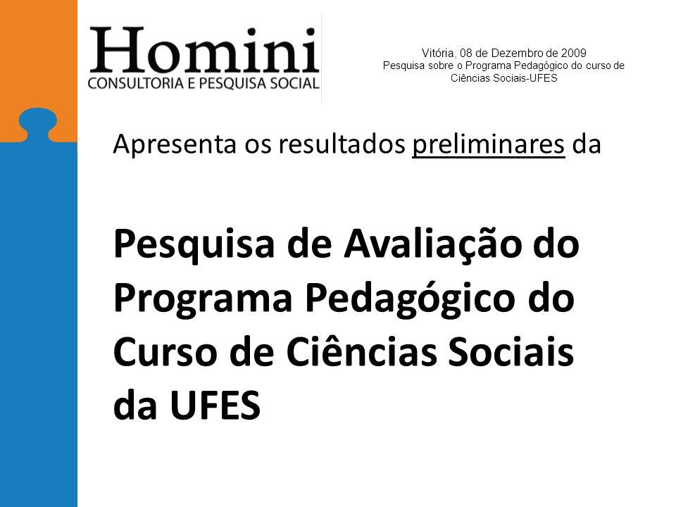 Apresenta os resultados preliminares da Pesquisa de Avaliação do Programa Pedagógico do Curso de Ciências Sociais da UFES Vitória, 08 de Dezembro de 2009 Pesquisa sobre o Programa Pedagógico do curso de Ciências Sociais-UFES