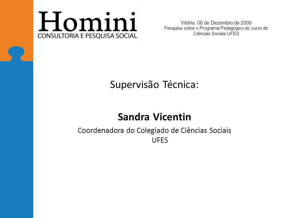 Supervisão Técnica: Sandra Vicentin Coordenadora do Colegiado de Ciências Sociais UFES Vitória, 08 de Dezembro de 2009 Pesquisa sobre o Programa Pedagógico do curso de Ciências Sociais-UFES