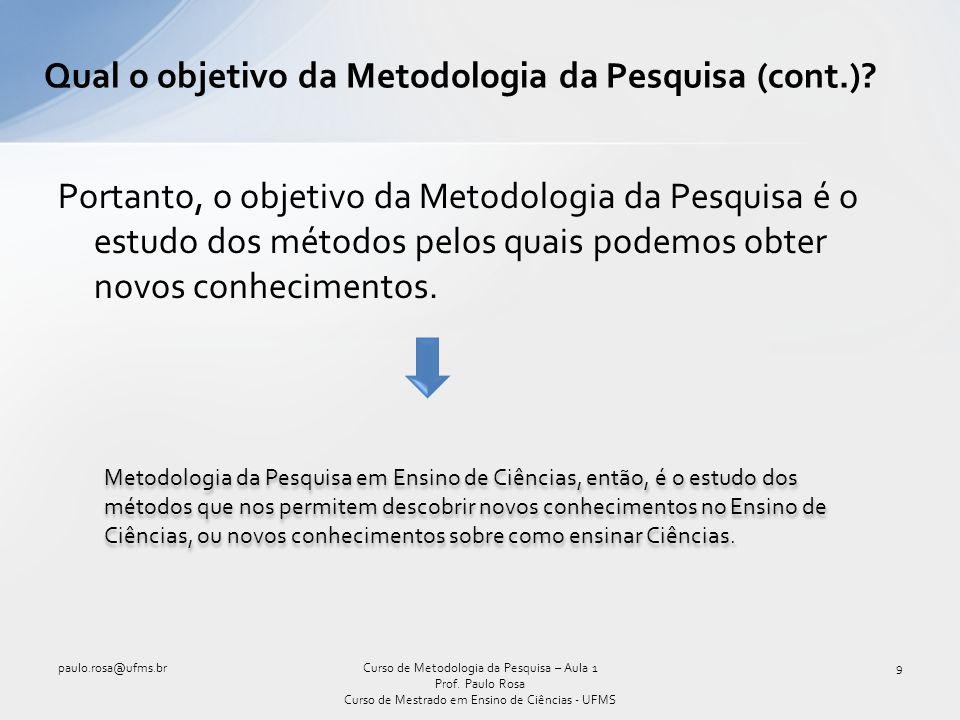 O V epistemológico de Gowin A estrutura do trabalho científico 10Curso de Metodologia da Pesquisa – Aula 1 Prof.