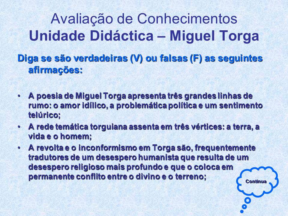 Avaliação de Conhecimentos Unidade Didáctica – Miguel Torga Diga se são verdadeiras (V) ou falsas (F) as seguintes afirmações: A poesia de Miguel Torg