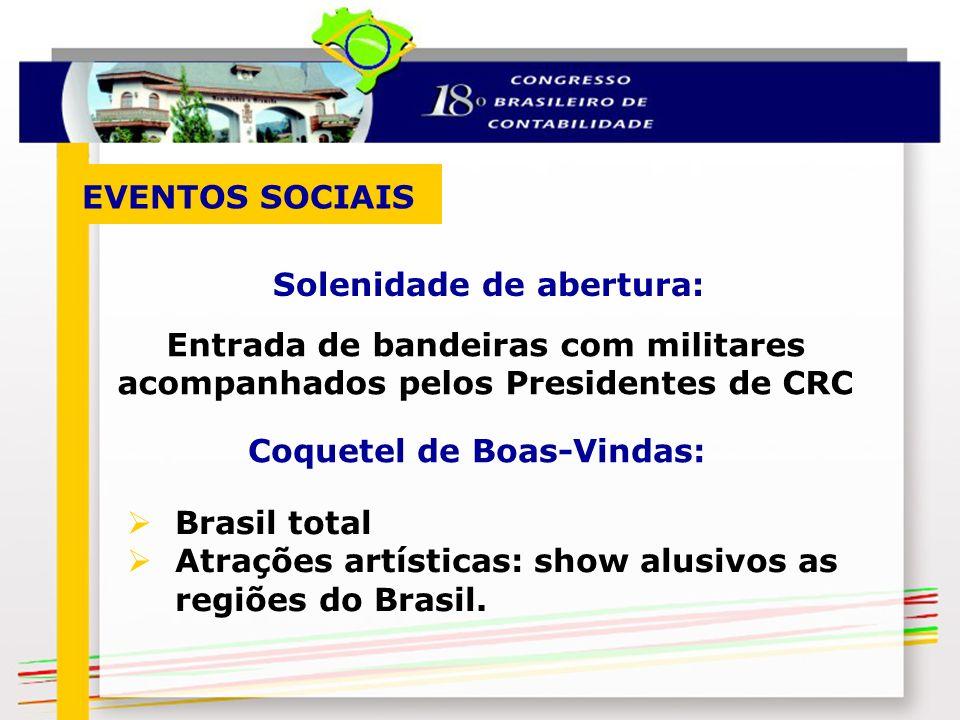 Brasil total Atrações artísticas: show alusivos as regiões do Brasil. Solenidade de abertura: EVENTOS SOCIAIS Entrada de bandeiras com militares acomp
