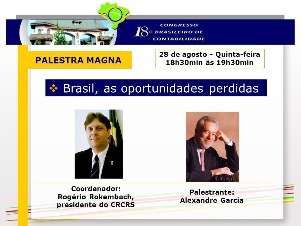 PALESTRA MAGNA 28 de agosto - Quinta-feira 18h30min às 19h30min Brasil, as oportunidades perdidas Palestrante: Alexandre Garcia Coordenador: Rogério R