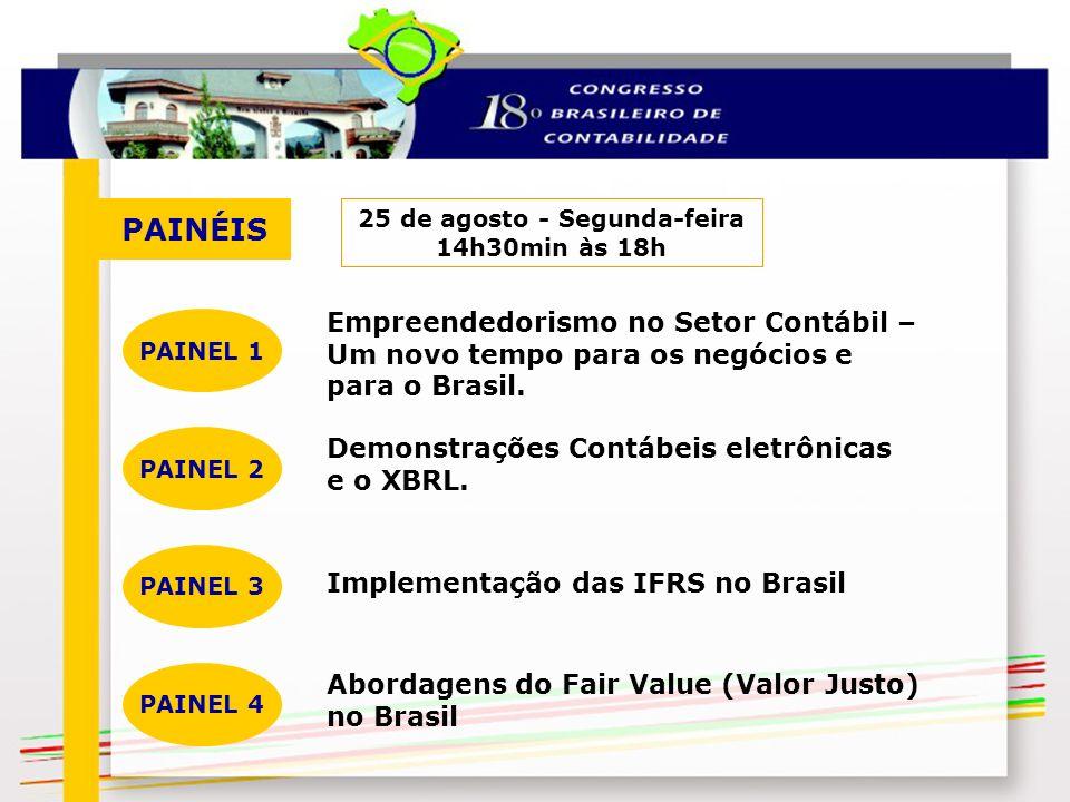 PAINÉIS 25 de agosto - Segunda-feira 14h30min às 18h Empreendedorismo no Setor Contábil – Um novo tempo para os negócios e para o Brasil. PAINEL 1 Dem