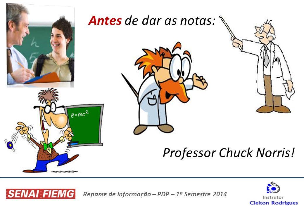 Repasse de Informação – PDP – 1º Semestre 2014 Antes de dar as notas: Professor Chuck Norris!