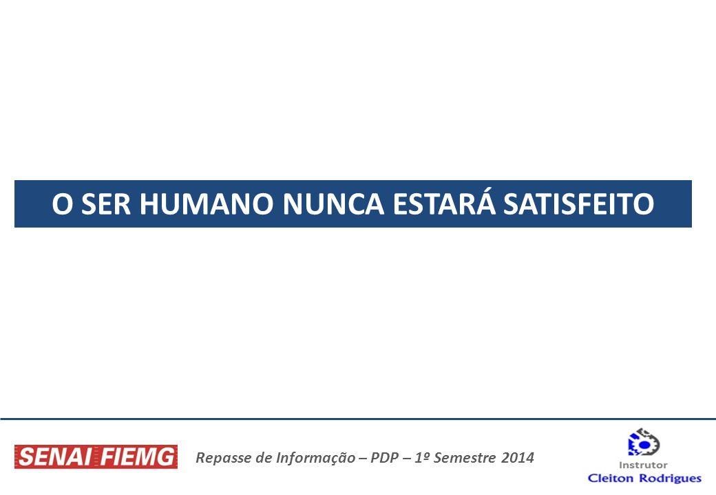 Repasse de Informação – PDP – 1º Semestre 2014 O SER HUMANO NUNCA ESTARÁ SATISFEITO