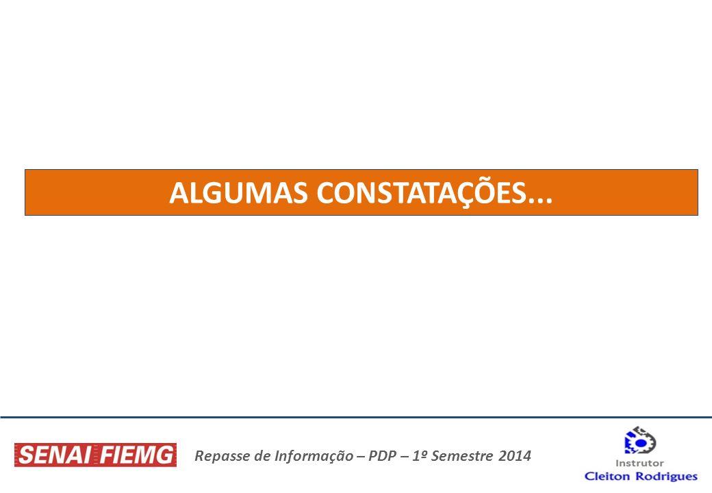 Repasse de Informação – PDP – 1º Semestre 2014 ALGUMAS CONSTATAÇÕES...