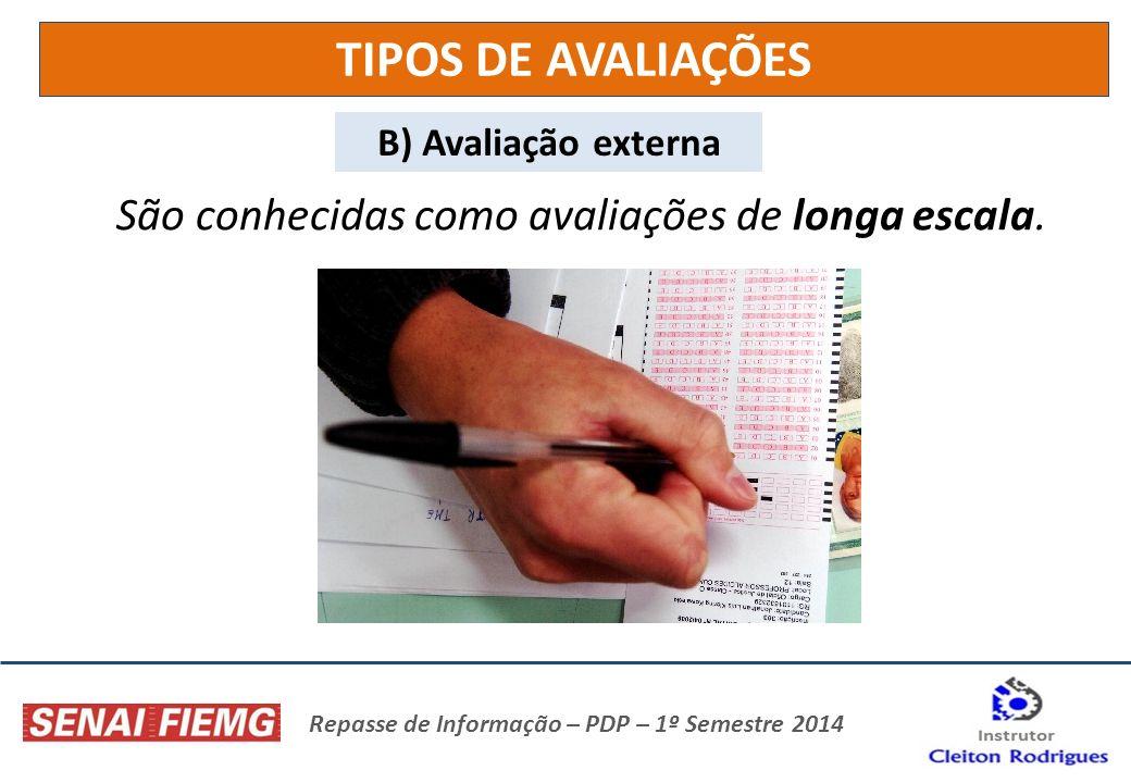 Repasse de Informação – PDP – 1º Semestre 2014 TIPOS DE AVALIAÇÕES B) Avaliação externa São conhecidas como avaliações de longa escala.