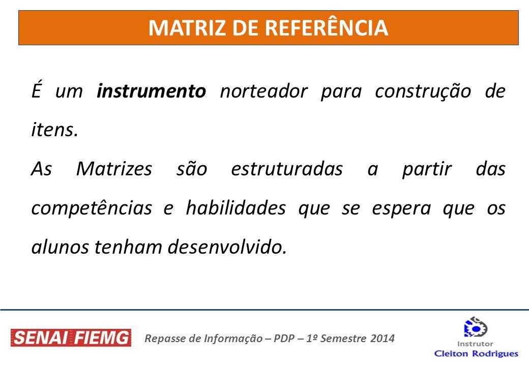 Repasse de Informação – PDP – 1º Semestre 2014 É um instrumento norteador para construção de itens. As Matrizes são estruturadas a partir das competên