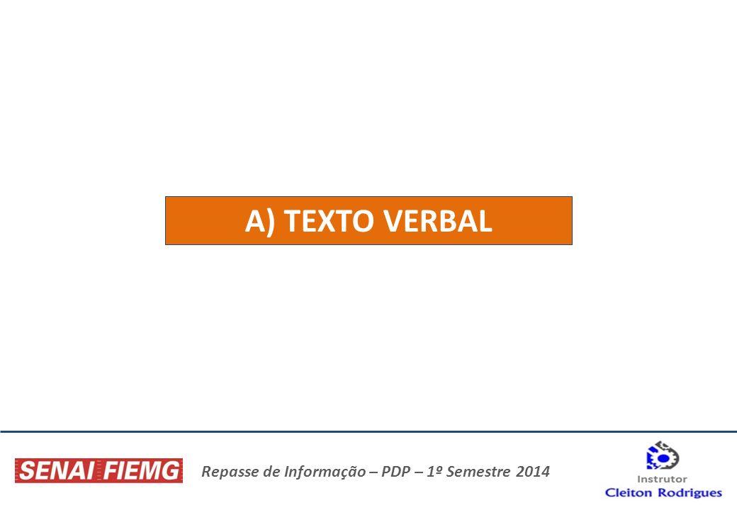 Repasse de Informação – PDP – 1º Semestre 2014 A) TEXTO VERBAL