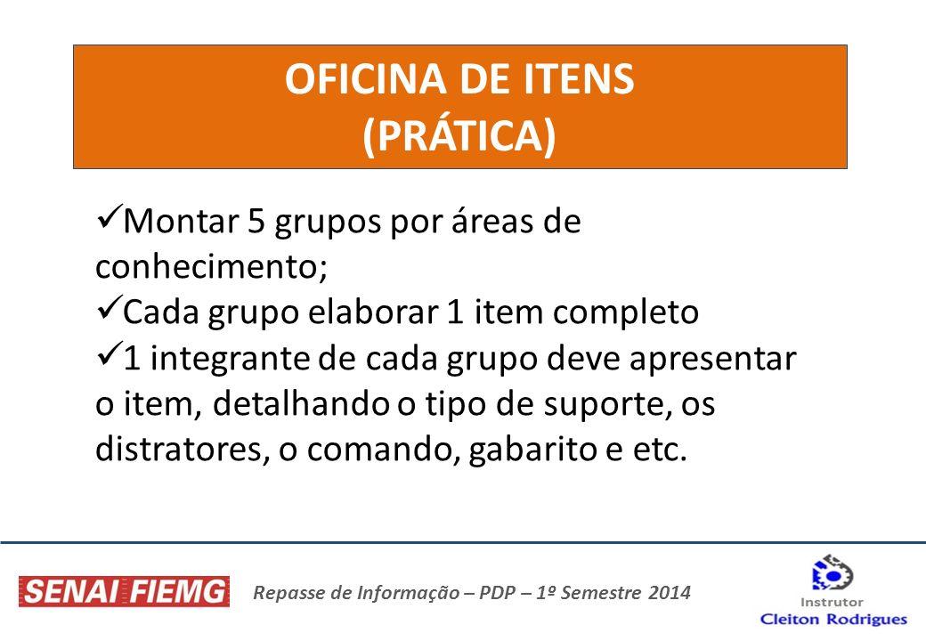 Repasse de Informação – PDP – 1º Semestre 2014 OFICINA DE ITENS (PRÁTICA) Montar 5 grupos por áreas de conhecimento; Cada grupo elaborar 1 item comple