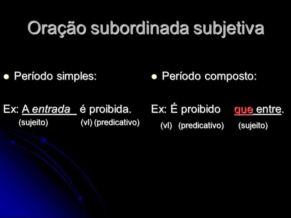 Oração subordinada subjetiva Período simples: Período simples: Ex: A entrada é proibida. (sujeito) (vl) (predicativo) (sujeito) (vl) (predicativo) Per