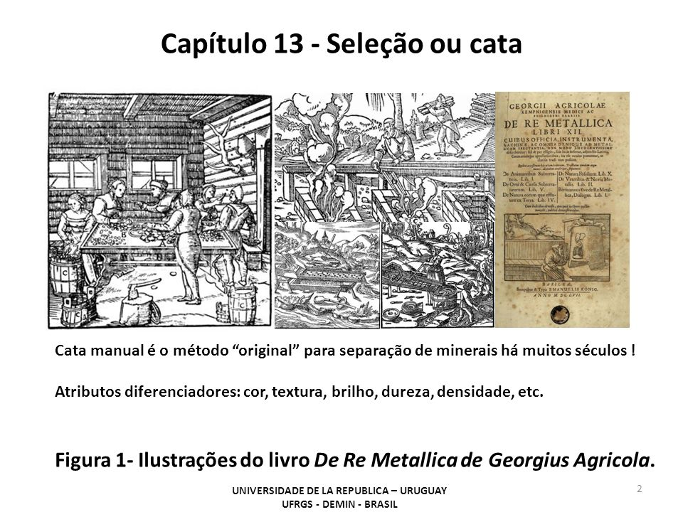 Capítulo 13 - Seleção ou cata UNIVERSIDADE DE LA REPUBLICA – URUGUAY UFRGS - DEMIN - BRASIL 2 Figura 1- Ilustrações do livro De Re Metallica de Georgius Agricola.