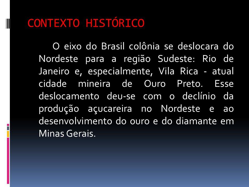 CONTEXTO HISTÓRICO O eixo do Brasil colônia se deslocara do Nordeste para a região Sudeste: Rio de Janeiro e, especialmente, Vila Rica - atual cidade