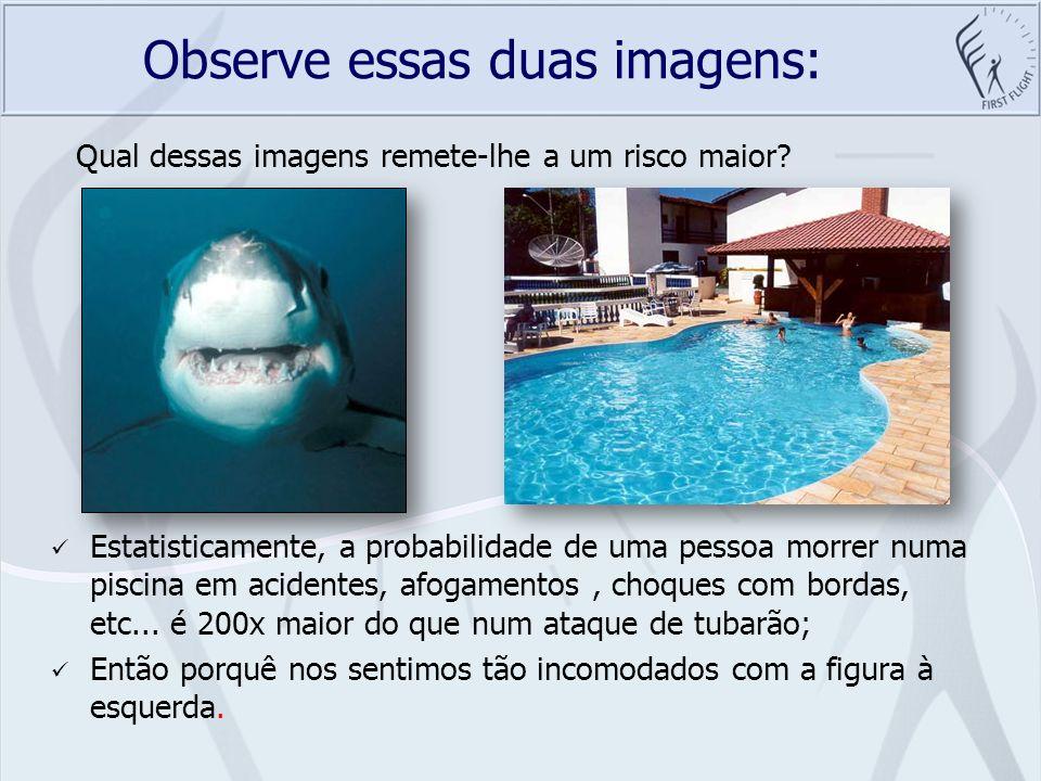 Observe essas duas imagens: Estatisticamente, a probabilidade de uma pessoa morrer numa piscina em acidentes, afogamentos, choques com bordas, etc...
