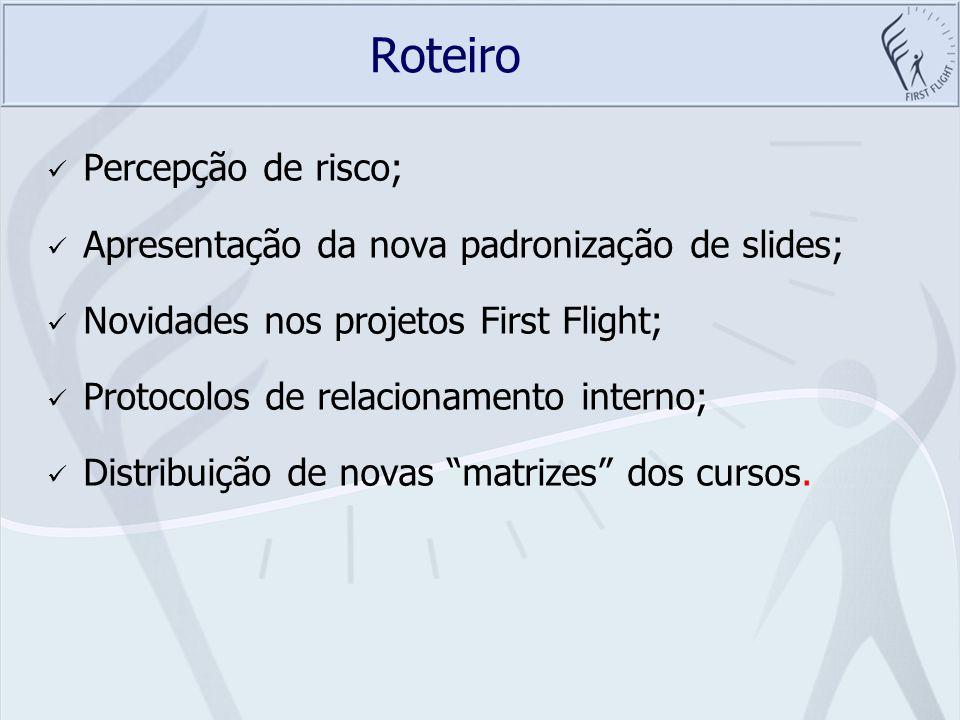 Roteiro Percepção de risco; Apresentação da nova padronização de slides; Novidades nos projetos First Flight; Protocolos de relacionamento interno; Di