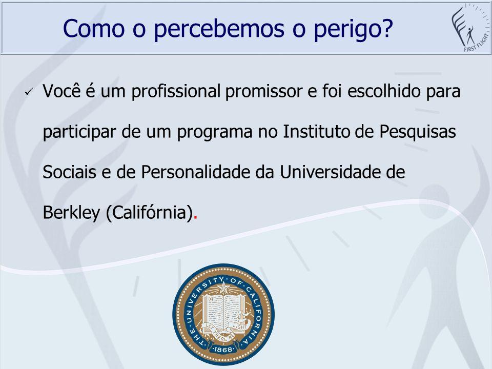 Como o percebemos o perigo? Você é um profissional promissor e foi escolhido para participar de um programa no Instituto de Pesquisas Sociais e de Per