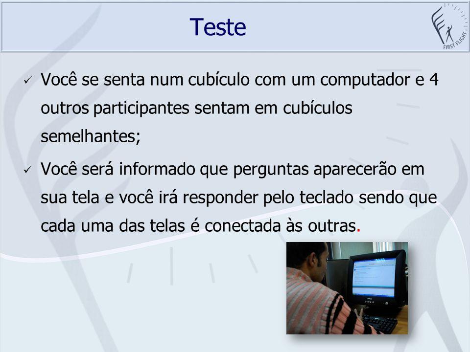 Teste Você se senta num cubículo com um computador e 4 outros participantes sentam em cubículos semelhantes; Você será informado que perguntas aparece