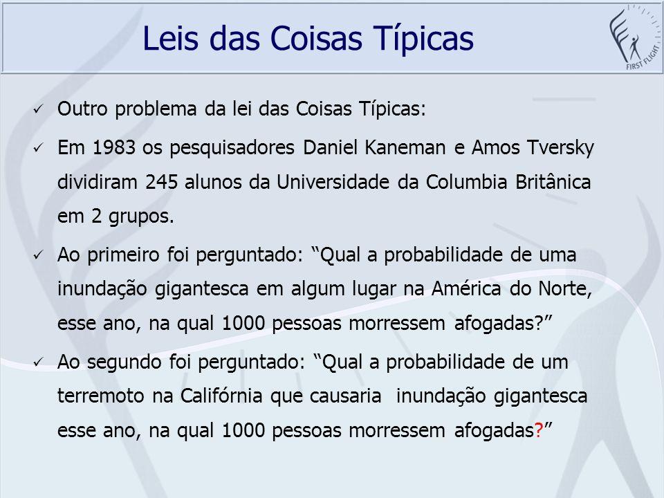 Leis das Coisas Típicas Outro problema da lei das Coisas Típicas: Em 1983 os pesquisadores Daniel Kaneman e Amos Tversky dividiram 245 alunos da Unive