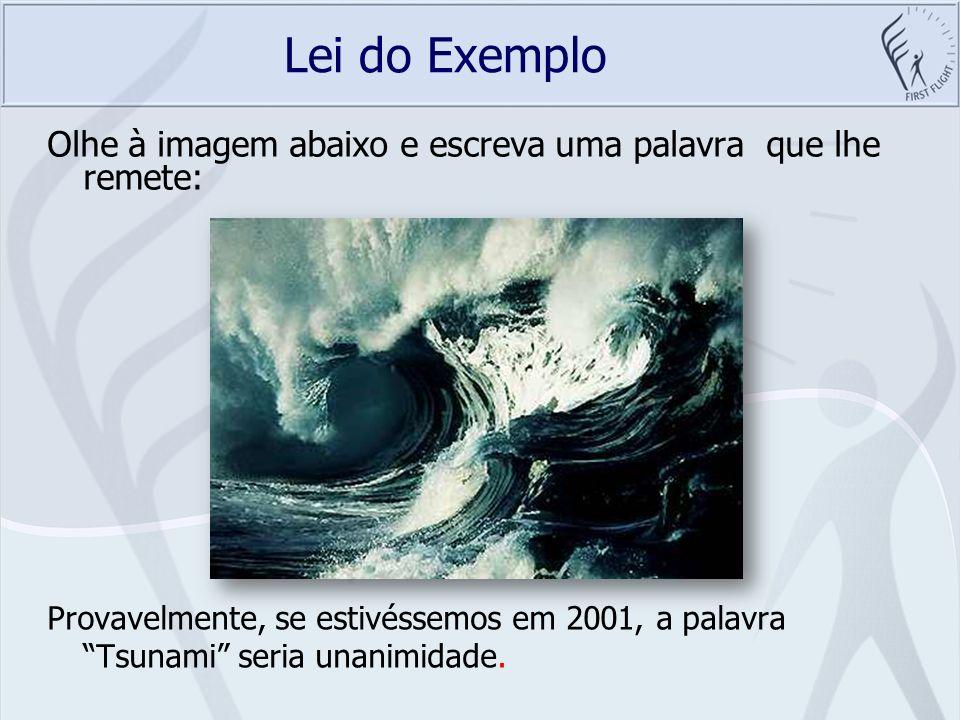 Lei do Exemplo Olhe à imagem abaixo e escreva uma palavra que lhe remete: Provavelmente, se estivéssemos em 2001, a palavra Tsunami seria unanimidade.