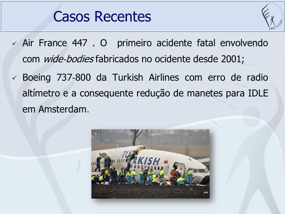 Casos Recentes O pouso no rio Hudson de um Airbus A320 da United Airlines; Um Boeing MD 82 da Spanair, em Madrid, Espanha, em 20 de agosto do ano passado, a tripulação decolou sem posicionar os flaps.
