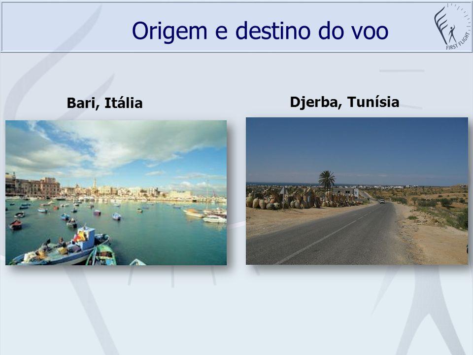 Origem e destino do voo Bari, Itália Djerba, Tunísia