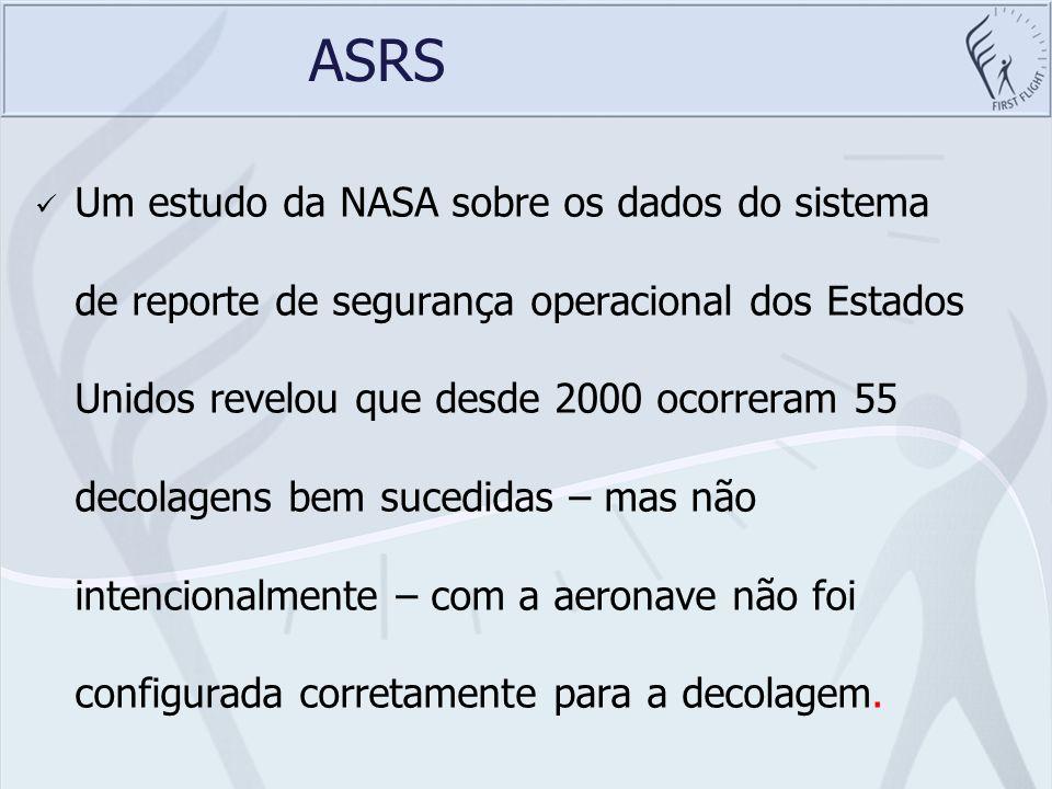 ASRS Um estudo da NASA sobre os dados do sistema de reporte de segurança operacional dos Estados Unidos revelou que desde 2000 ocorreram 55 decolagens