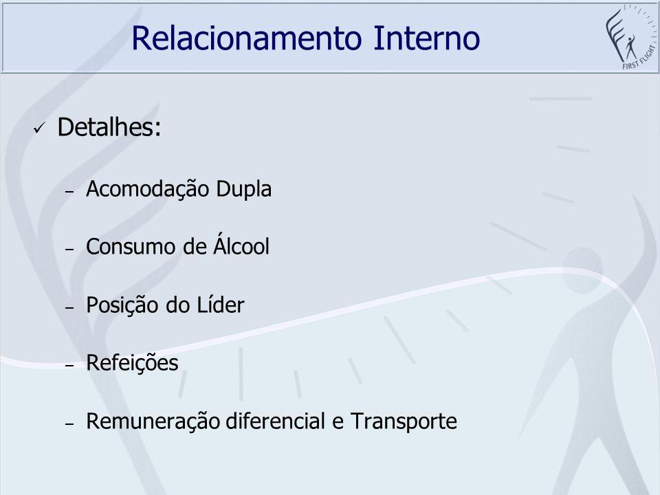 Relacionamento Interno Detalhes: – Acomodação Dupla – Consumo de Álcool – Posição do Líder – Refeições – Remuneração diferencial e Transporte