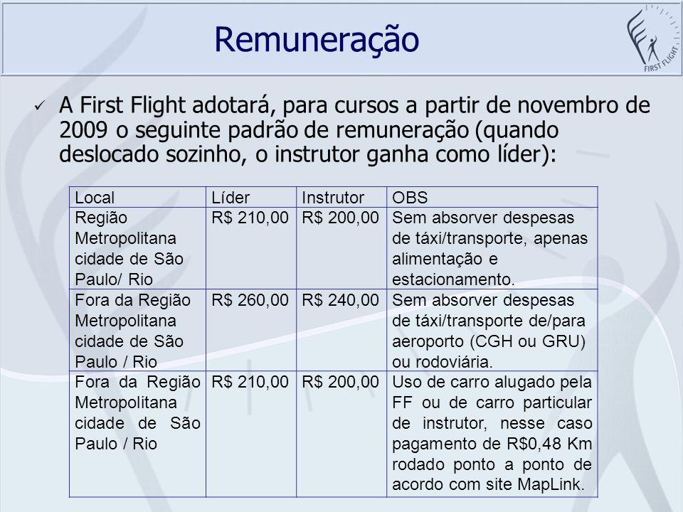 Remuneração A First Flight adotará, para cursos a partir de novembro de 2009 o seguinte padrão de remuneração (quando deslocado sozinho, o instrutor g