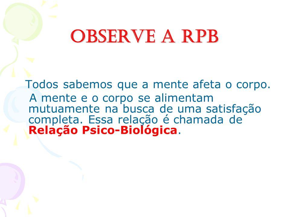Observe a RPB Todos sabemos que a mente afeta o corpo. A mente e o corpo se alimentam mutuamente na busca de uma satisfação completa. Essa relação é c