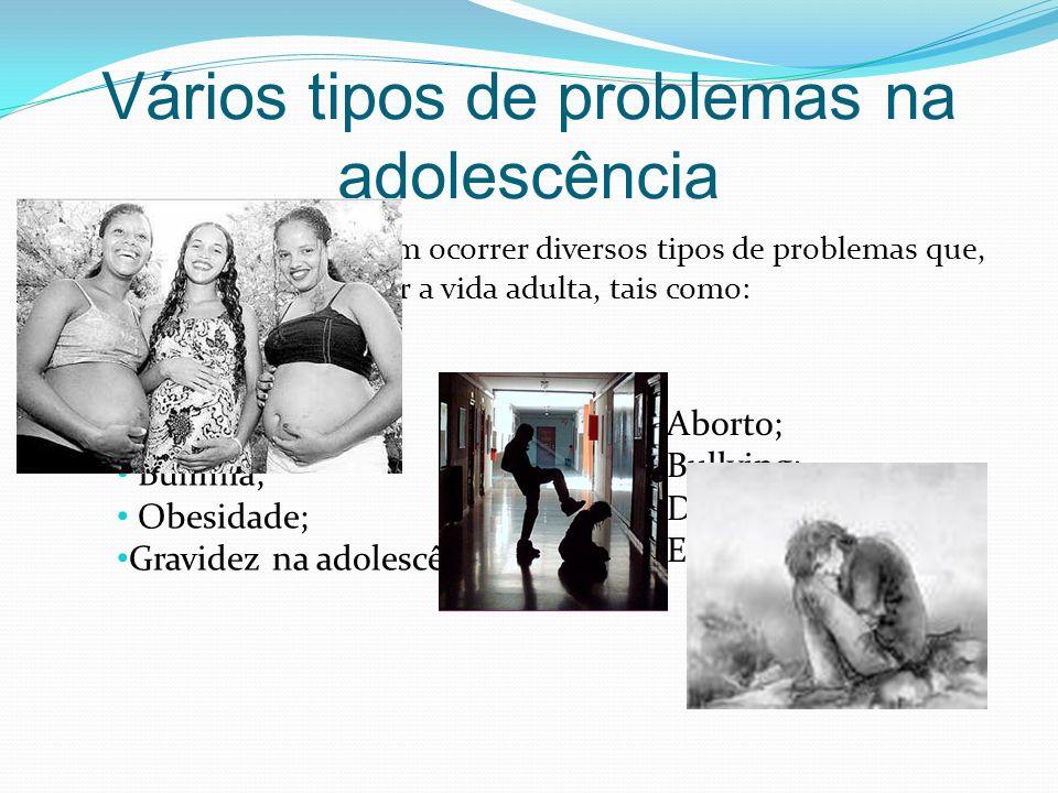 Vários tipos de problemas na adolescência Na adolescência podem ocorrer diversos tipos de problemas que, depois pode prejudicar a vida adulta, tais co