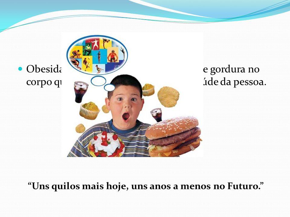Obesidade Obesidade caracteriza-se por excesso de gordura no corpo que vão originar problemas na saúde da pessoa. Uns quilos mais hoje, uns anos a men