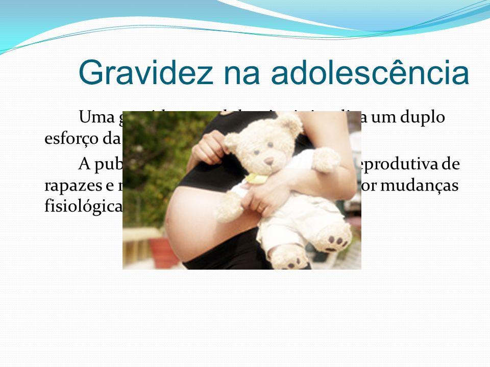 Gravidez na adolescência Uma gravidez na adolescência implica um duplo esforço da jovem adolescente. A puberdade marca o início da vida reprodutiva de