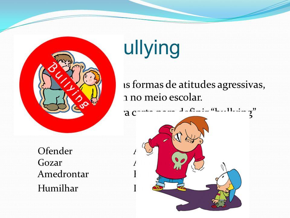 Bullying O Bullying são todas as formas de atitudes agressivas, normalmente ocorrem no meio escolar. Não existe um apalavra certa para definir bullyin
