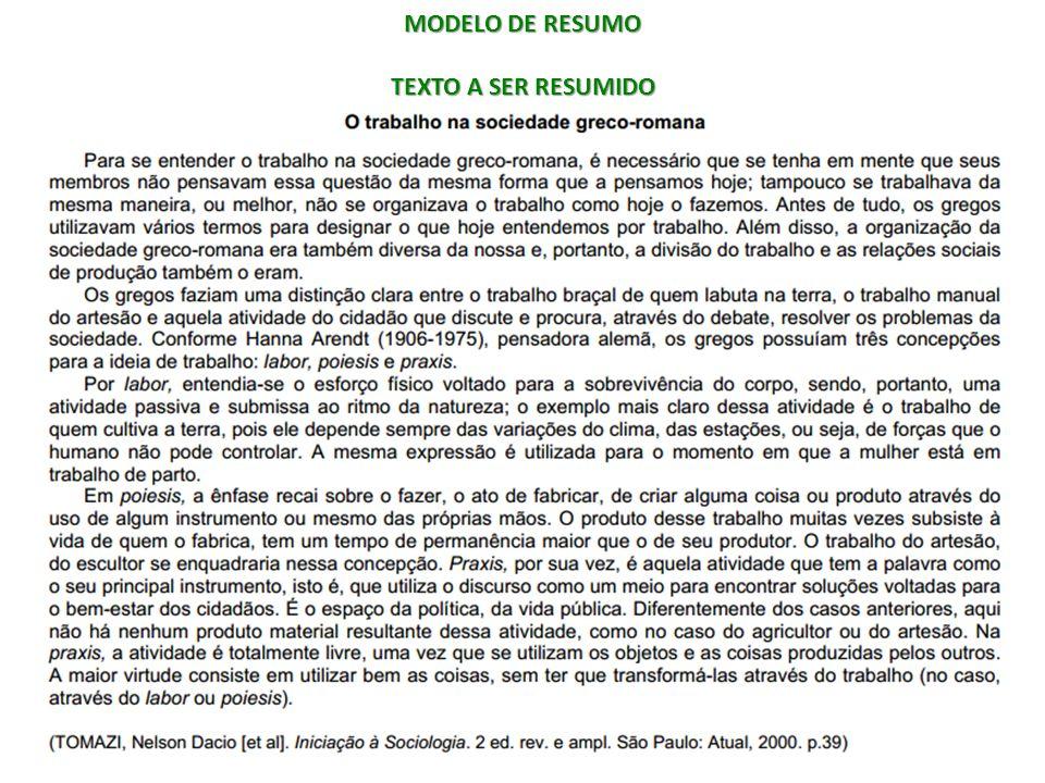 MODELO DE RESUMO TEXTO A SER RESUMIDO