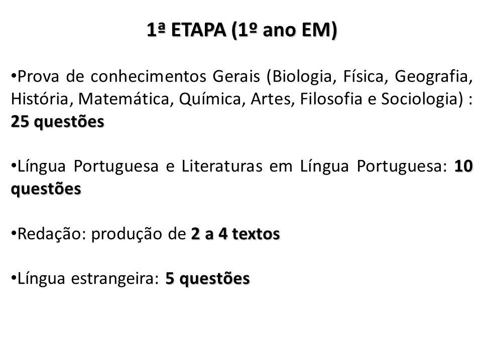 1ª ETAPA (1º ano EM) 25 questões Prova de conhecimentos Gerais (Biologia, Física, Geografia, História, Matemática, Química, Artes, Filosofia e Sociolo
