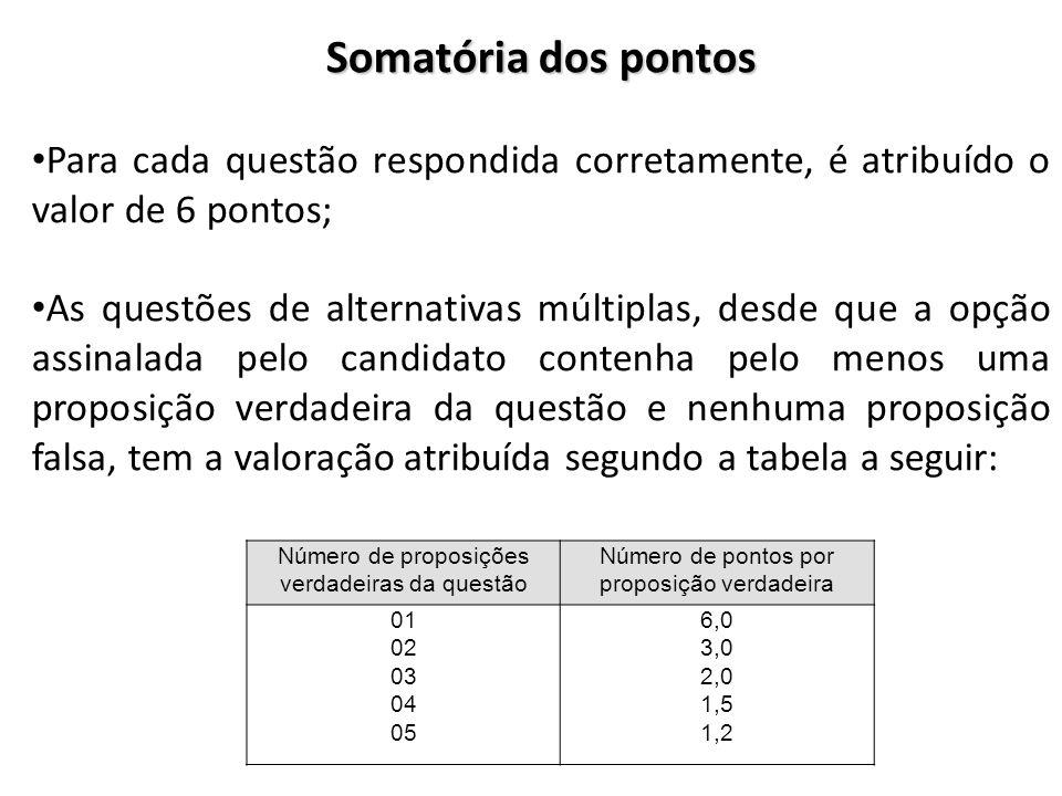 Somatória dos pontos Para cada questão respondida corretamente, é atribuído o valor de 6 pontos; As questões de alternativas múltiplas, desde que a op