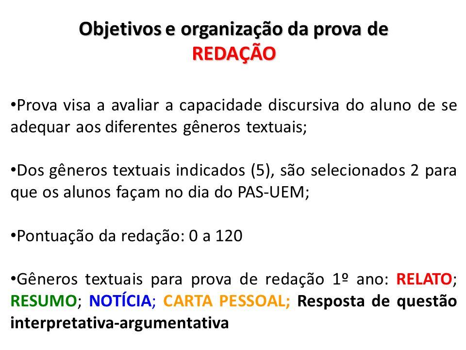 Objetivos e organização da prova de REDAÇÃO Prova visa a avaliar a capacidade discursiva do aluno de se adequar aos diferentes gêneros textuais; Dos g